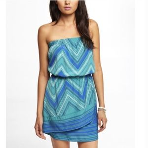 Express Turquoise Scarf Print Tube Dress